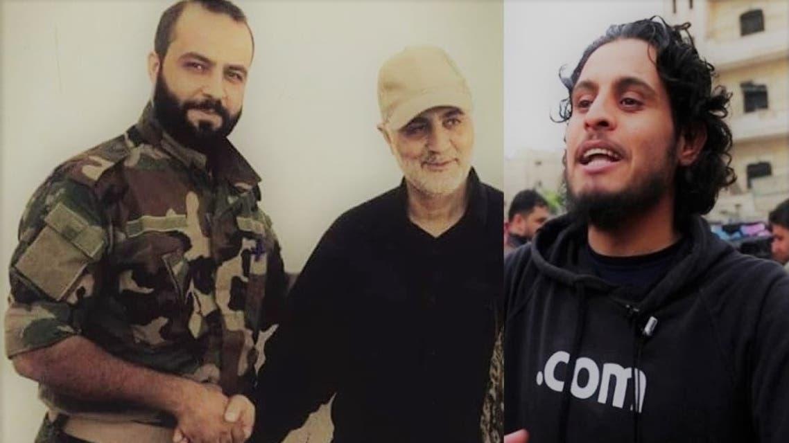 صورة للساروت بجانب صورة لقاتله مصافحاً قاسم سليماني