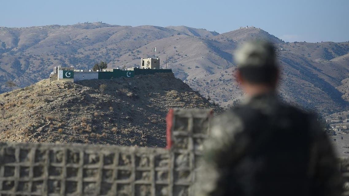A Pakistani army soldier stands guard on a border terminal in Ghulam Khan, a town in North Waziristan, on the border between Pakistan and Afghanistan, on January 27, 2019.