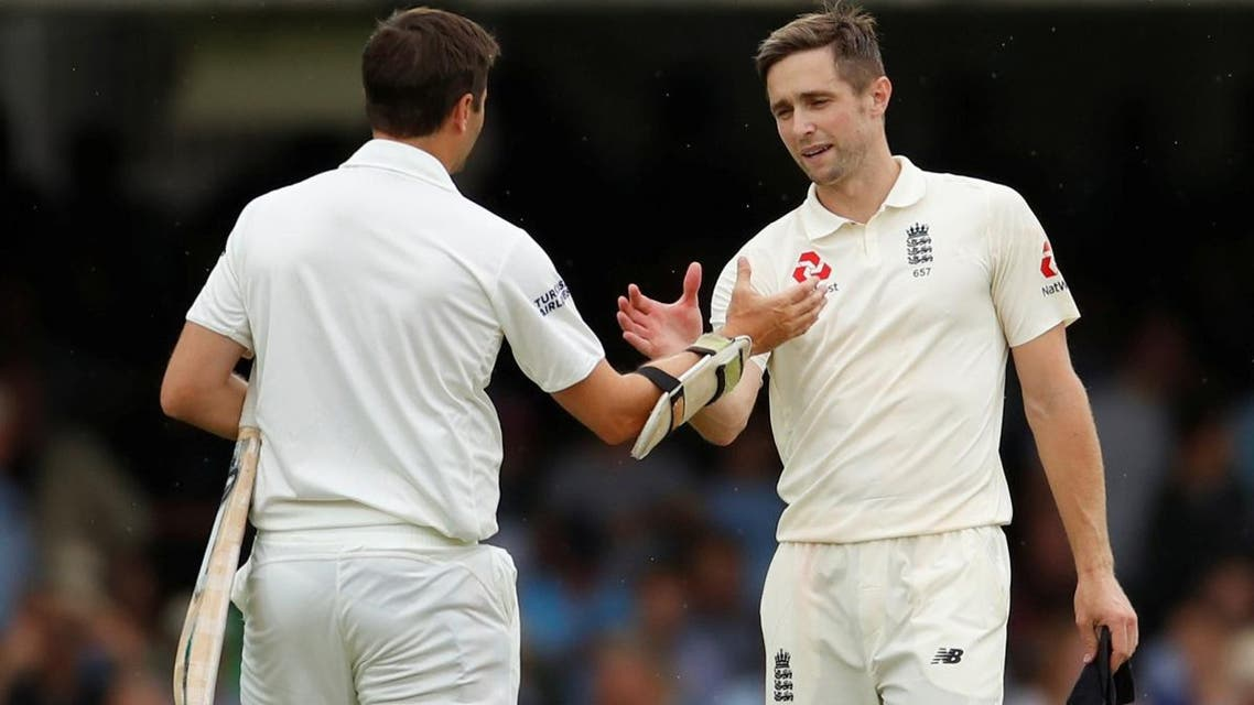 England's Chris Woakes shakes hands with Ireland's Tim Murtagh after the match at Lord's Cricket Ground, London, on July 26, 2019. (Reuters)