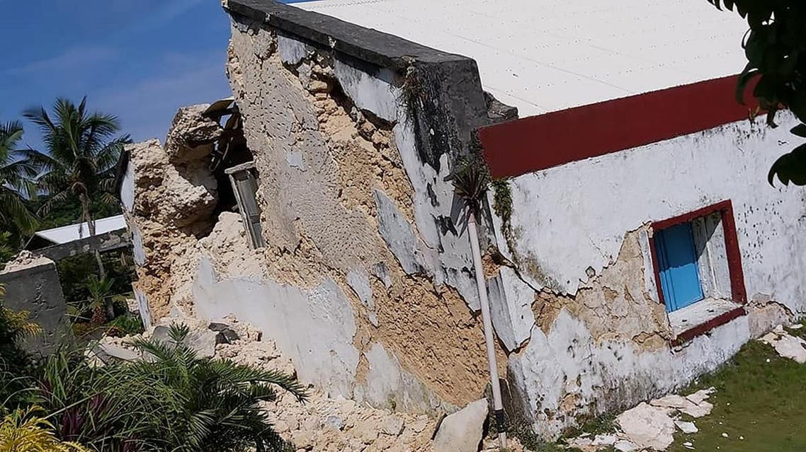 This handout picture taken and received on July 27, 2019 courtesy of Dominic De Sagon Asa shows the damage to the Sta Maria de Mayan Church after a pair of strong earthquakes of magnitude 5.4 and 5.9 struck the region within hours in Philippines. (AFP)