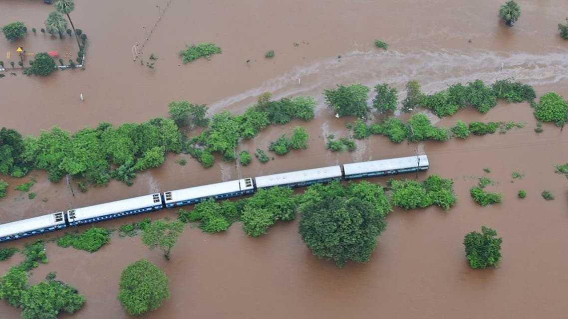 The Mahalaxmi Express train marooned in floodwaters in Badlapur, in the western Indian state of Maharashtra, on, July 27, 2019. (AP)