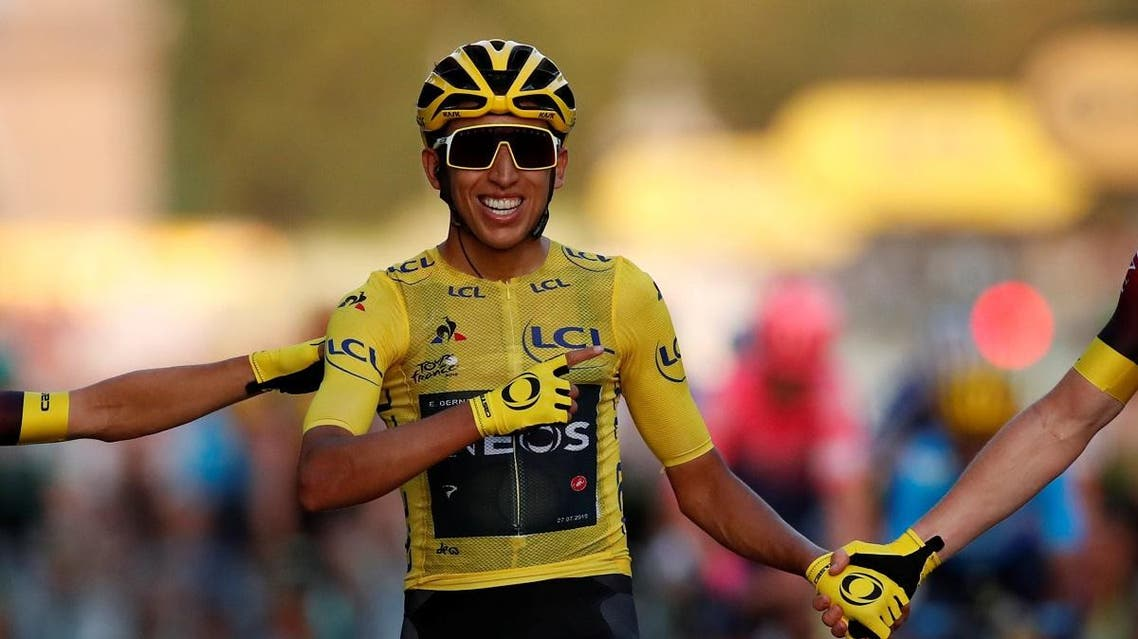 Team INEOS rider Egan Bernal of Colombia celebrates at the finish. (Reuters)