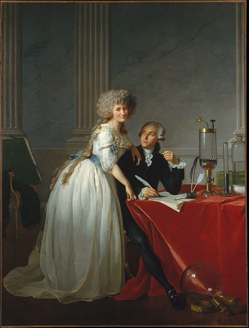 صورة لأنطوان لافوازييه رفقة زوجته ماري آن بولز