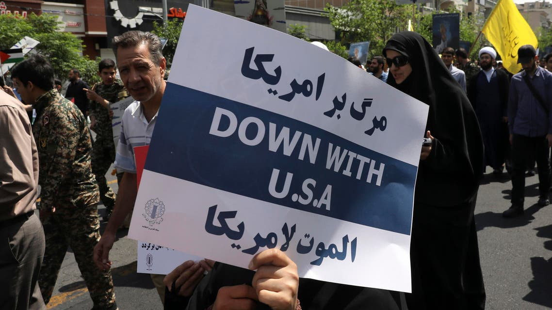 Death to America, down with the US placard slogan Iran - AP