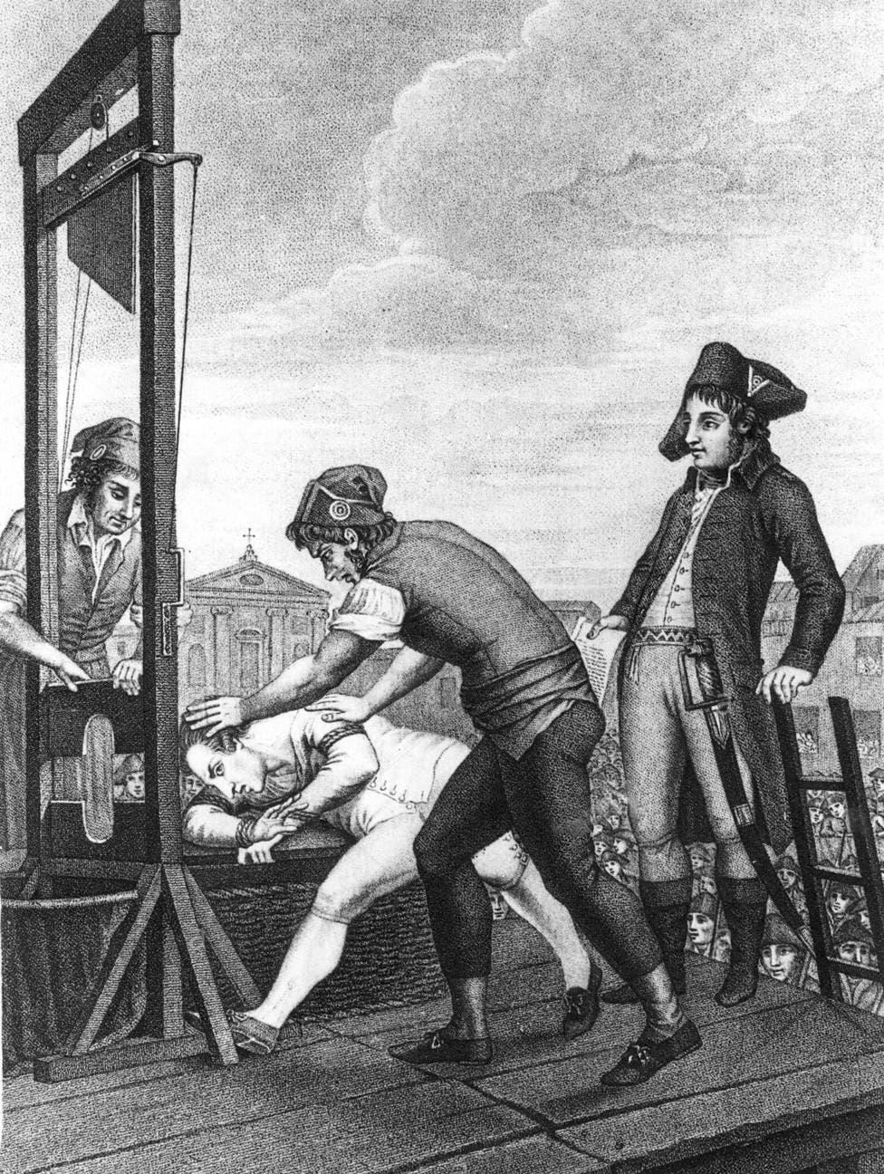 رسم تخيلي يجسد إعدام روبسبيار بالمقصلة
