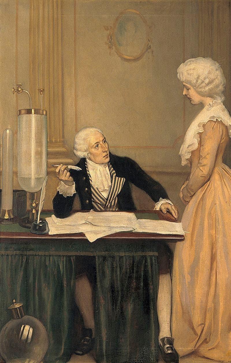لوحة تجسد لافوازييه وهو يفسر نتائج إحدى التجارب لزوجته