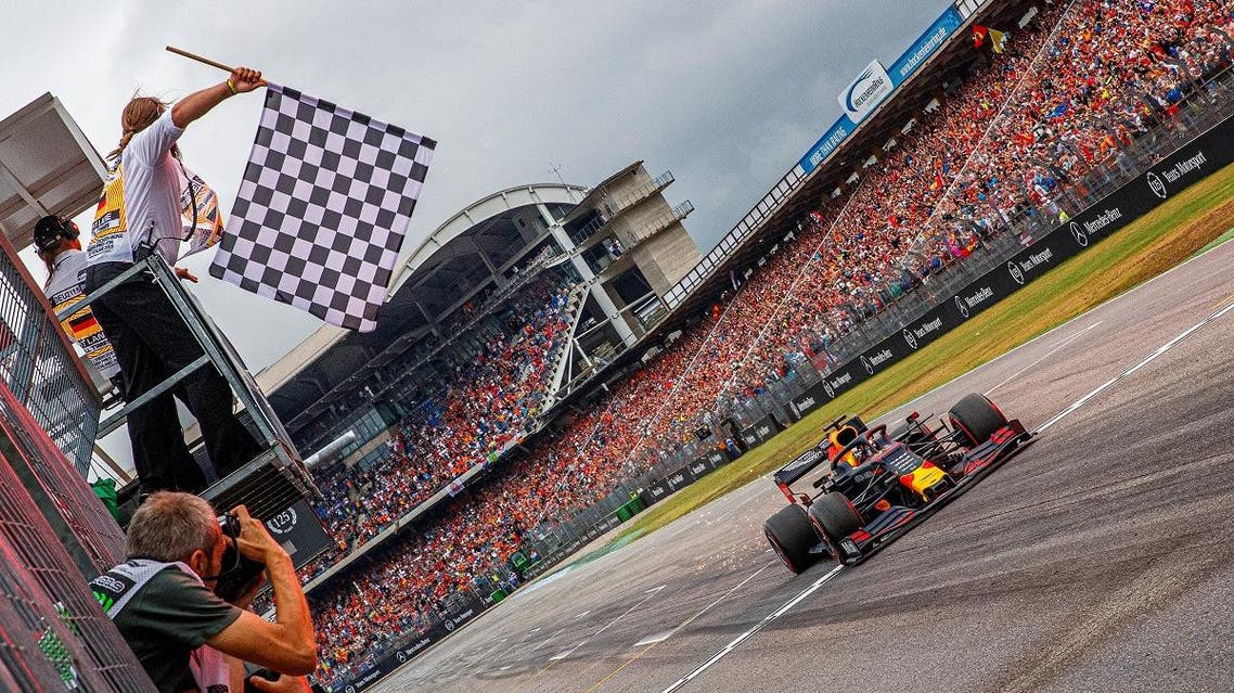 Red Bull's Max Verstappen crosses the finish line to win the race. (Reuters)