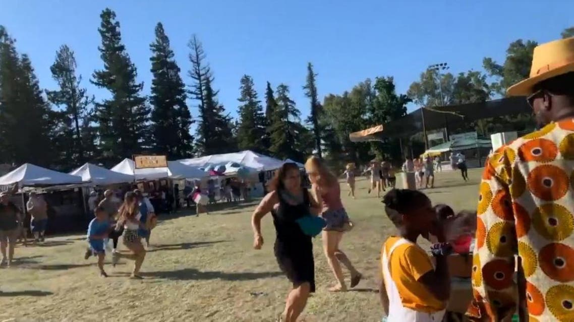 People run as an active shooter was reported at the Gilroy Garlic Festival, south of San Jose, California, U.S., July 28, 2019 in this still image taken from a social media video. (Reuters)