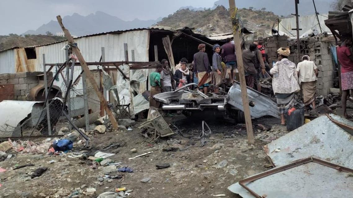 (Photo via Yemeni Information Minister Moammar al-Eryani via Twitter) saada attack