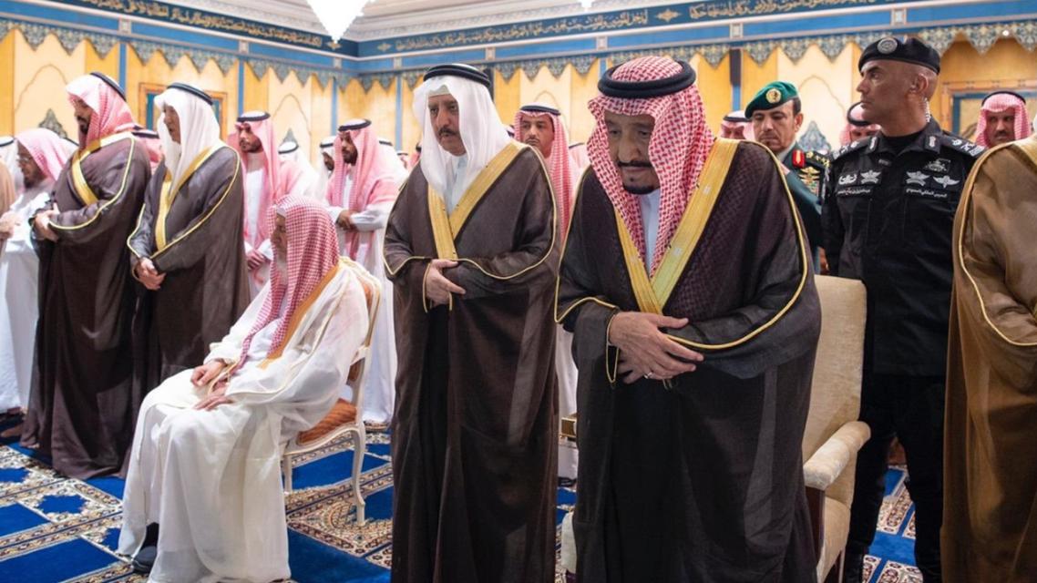 King Salman at Bandar bin Abdulaziz funeral prayer - SPA