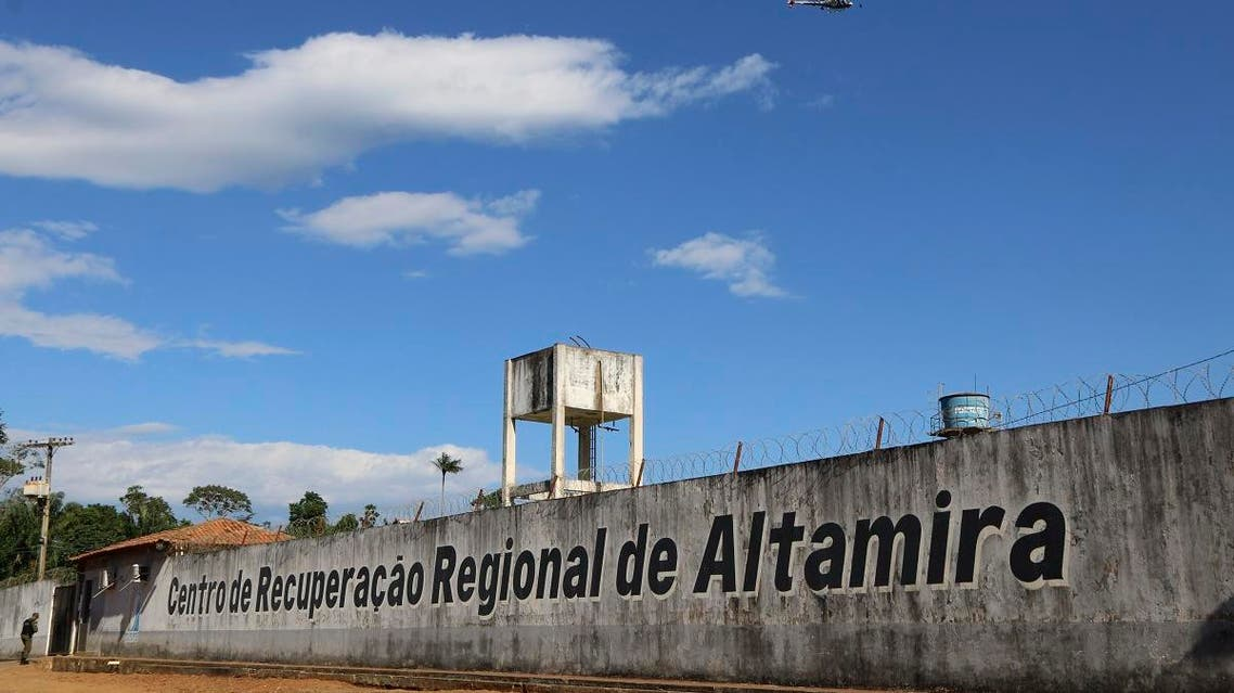 A police helicopter flies over the Regional Recovery Center, a prison, in Altamira, Para state, Brazil, Monday, July 29, 2019. (AP)