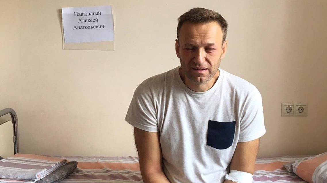A handout image made available on the official website of Russia's opposition leader Alexei Navalny (Navalny.com) on July 29, 2019, shows Russia's jailed opposition leader Alexei Navalny sitting on a hospital bed in Moscow. (AFP)
