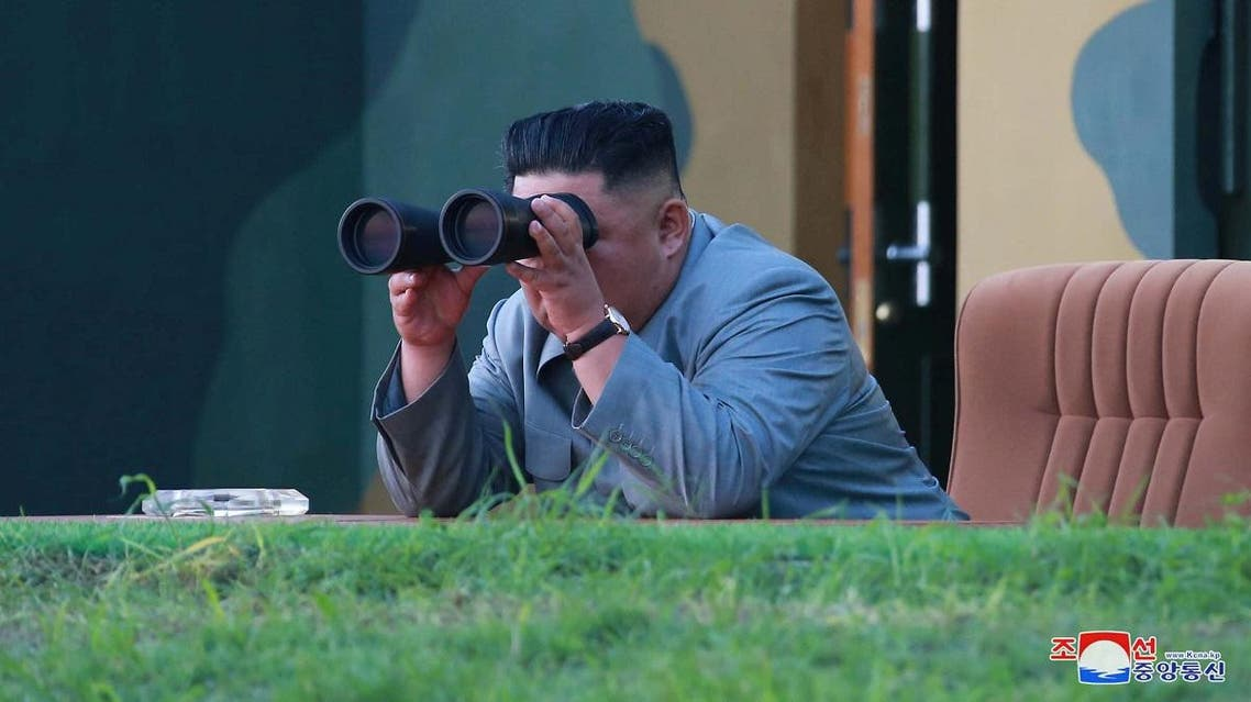 North Korean leader Kim Jong Un watches the test-fire of two short-range ballistic missiles. (KCNA via Reuters)
