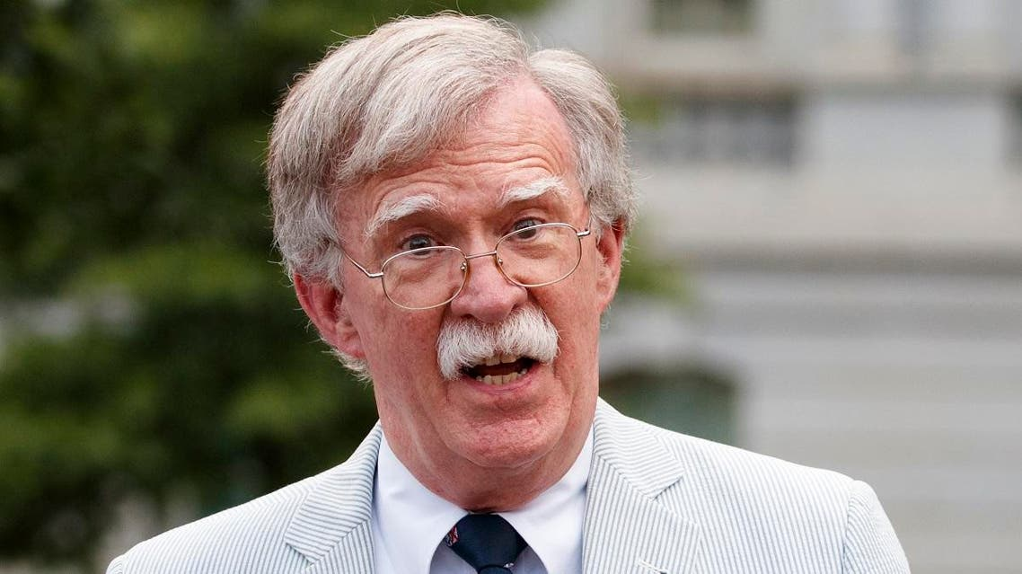 National security adviser John Bolton speaks to media at the White House in Washington. (AP)