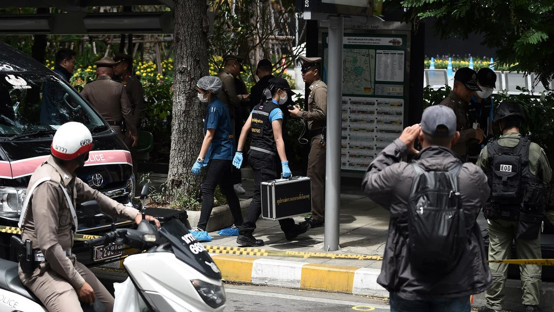 Police and members of the explosive ordinance disposal unit gather at the scene of an explosion in Bangkok on August 2, 2019.  (AFP)