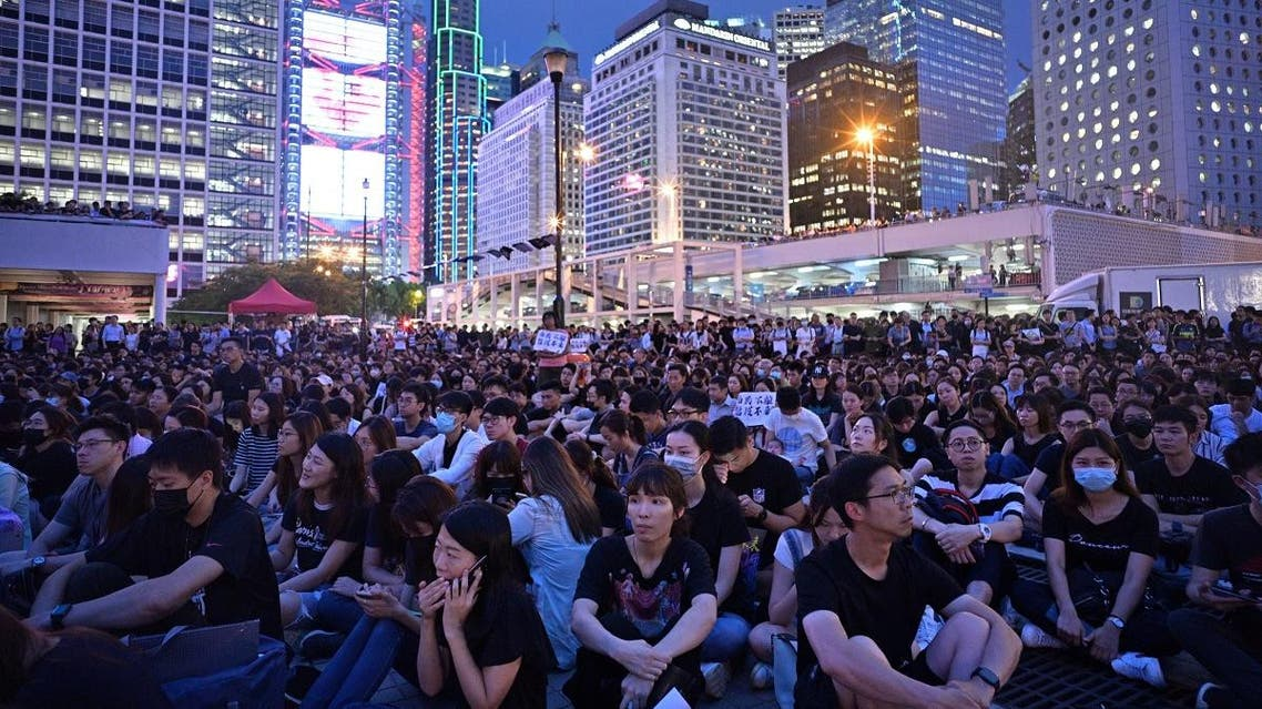 Members of the territory's medical sector attend a protest in Edinburgh Place in Hong Kong on August 2, 2019. (AFP)