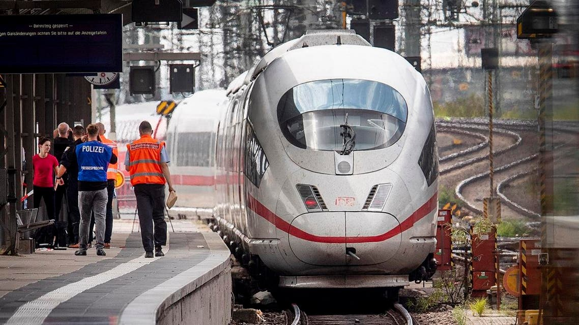 An ICE highspeed train at the main station in Frankfurt, Germany. (AP)