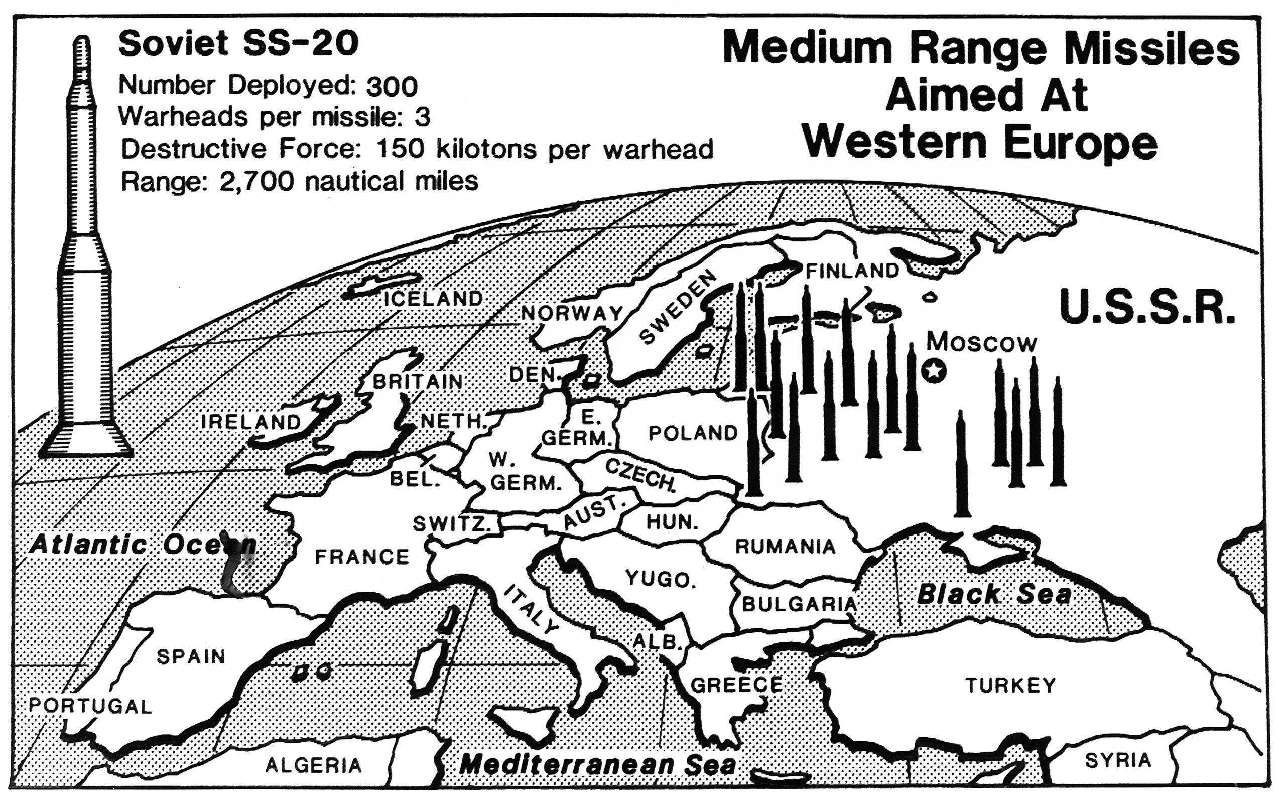 """رسم يوضح مواقع نشر  الصواريخ النووية السوفييتية من """" إس. إس. 20"""""""