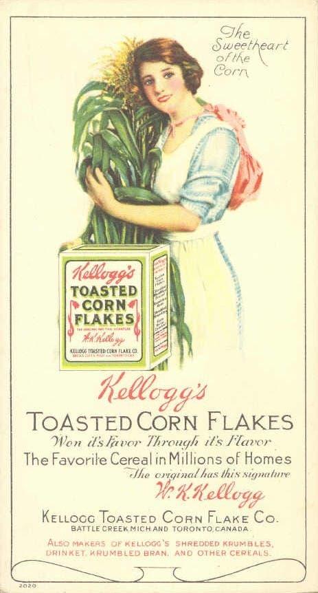 صورة دعائية لأحد منتجات رقائق الذرة كيلوغ مطلع القرن الماضي