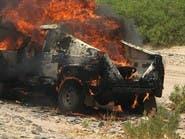 """نجاة متسابق سعودي بعد احتراق سيارته في """"رالي عسير"""""""