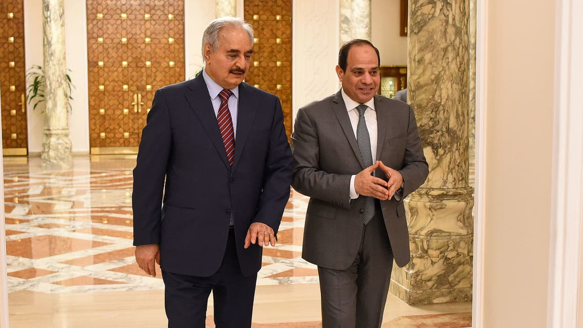 A handout picture released by the Egyptian Presidency on May 9, 2019 shows Egyptian President Abdel Fattah al-Sisi meeting with Libyan military rebel commander Khalifa Haftar (L) at the Ittihadia presidential Palace in the capital Cairo. Haftar was in Cairo for the second time since he launched a military offensive on his country's capital, the Egyptian presidency said. Haftar has gained the ardent support of Egyptian President Abdel Fattah al-Sisi for his assault on Tripoli, where Libya's UN-recognised government sits.
