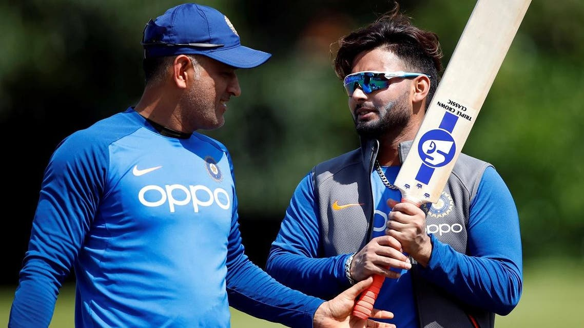 India's MS Dhoni (L) and Rishabh Pant during nets during the ICC Cricket World Cup at Edgbaston, Birmingham, Britain, on June 29, 2019. (Reuters)