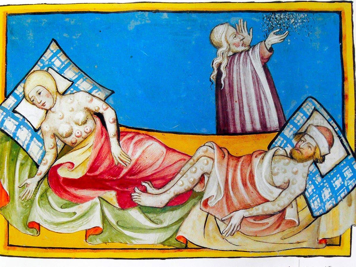 لوحة تجسد عددا من المصابين بالطاعون الدبلي