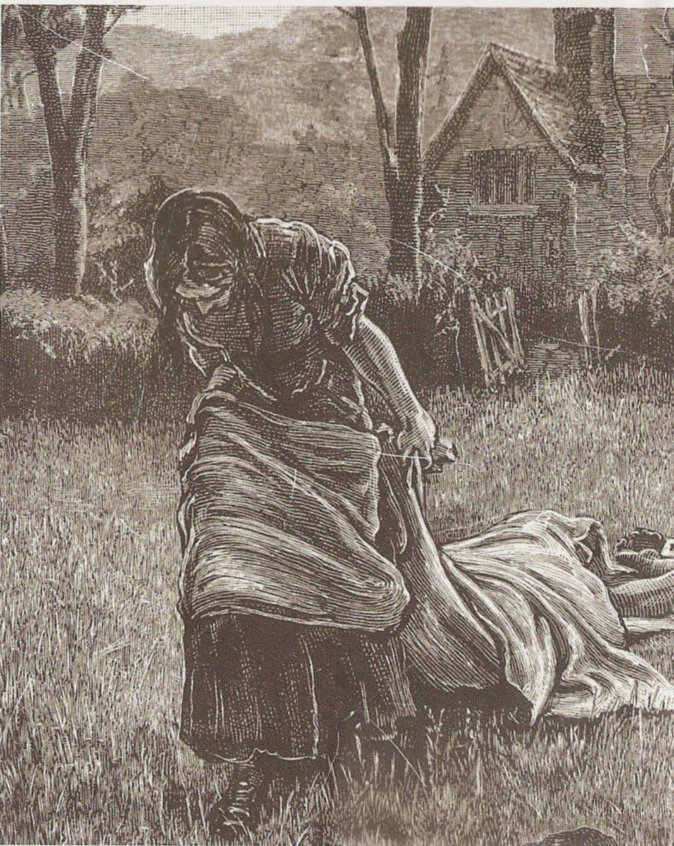 رسم تخيلي للسيدة إليزابيث هانكوك أثناء توجهها لدفن جثة أحد أطفالها