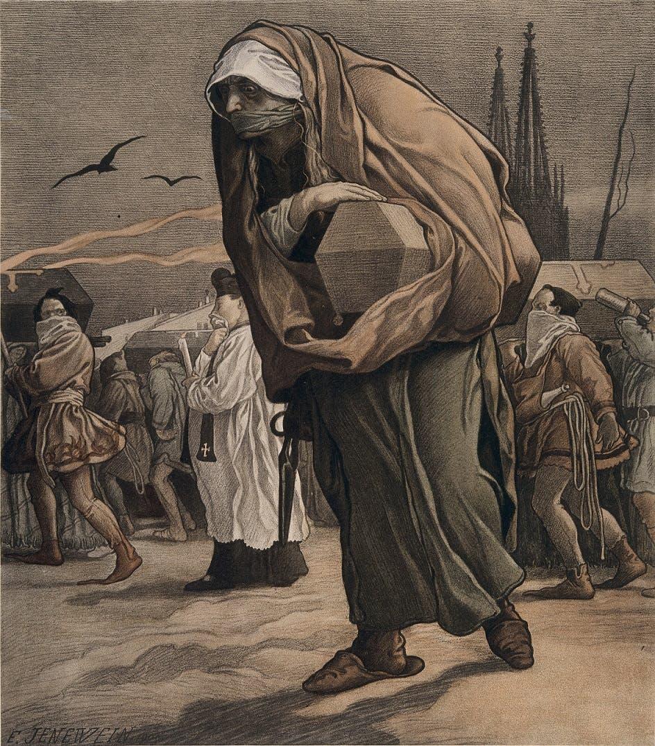 رسم تخيلي لعدد من أهالي إيام أثناء توجههم لدفن ضحاياهم