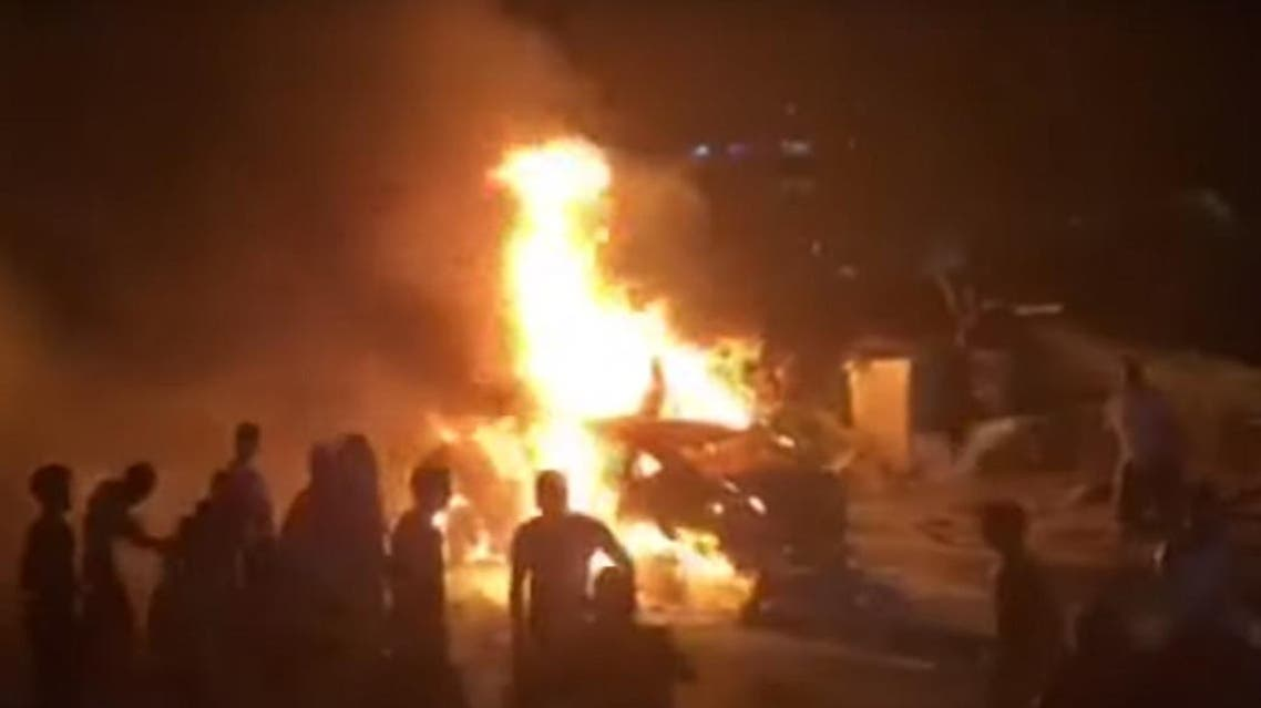 Cairo accident fire. (Video grab)