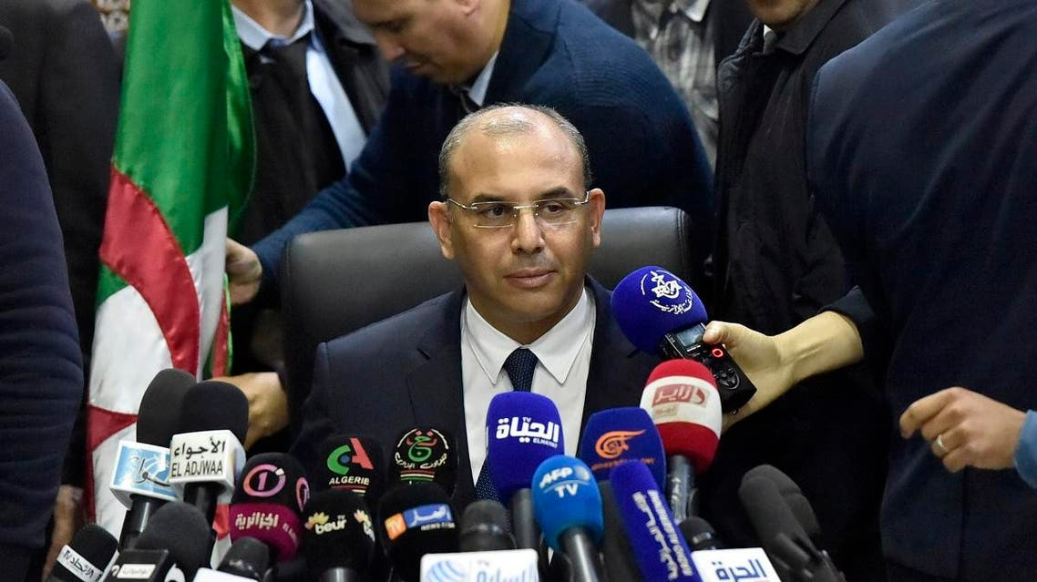 Abdelghani Zaalane, reads a letter from the incumbent president at the constitutional council, in Algiers, on March 03, 2019. (AFP)