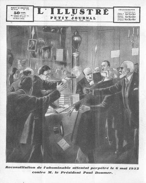 رسم تخيلي يجسد عملية اغتيال الرئيس الفرنسي بول دومير
