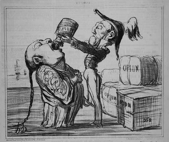 رسم كاريكاتيري ساخر يجسد بيع الأفيون للصين