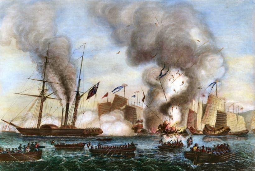 رسم تخيلي لإحدى المعارك خلال حرب الأفيون الأولى