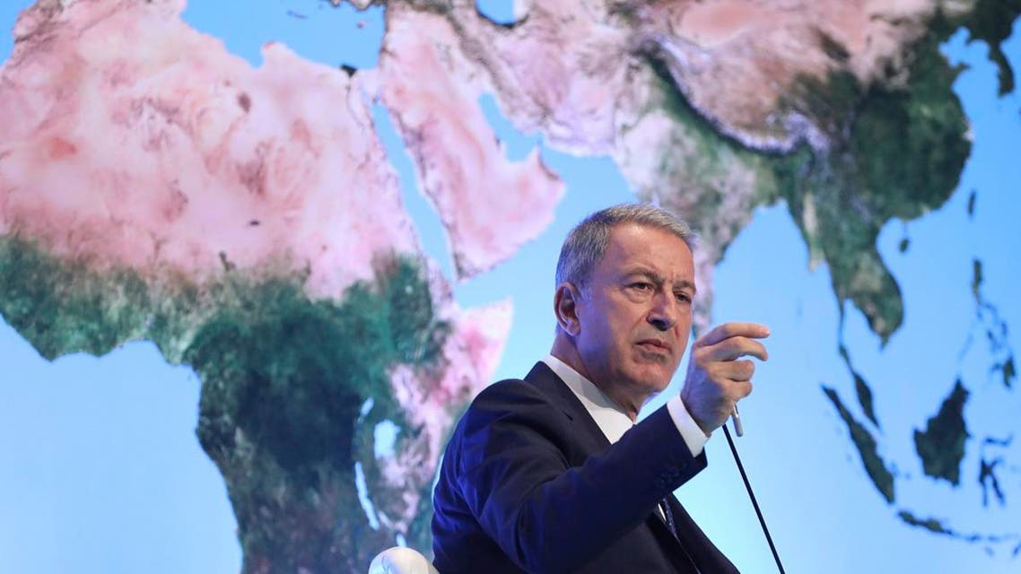 Turkey's Defense Minister Hulusi Akar addresses a meeting of his country's ambassadors, in Ankara, Turkey, on August 7, 2019. (AP)