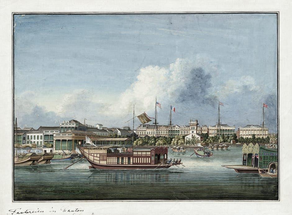 رسم تخيلي لميناء كانتون سنة 1850