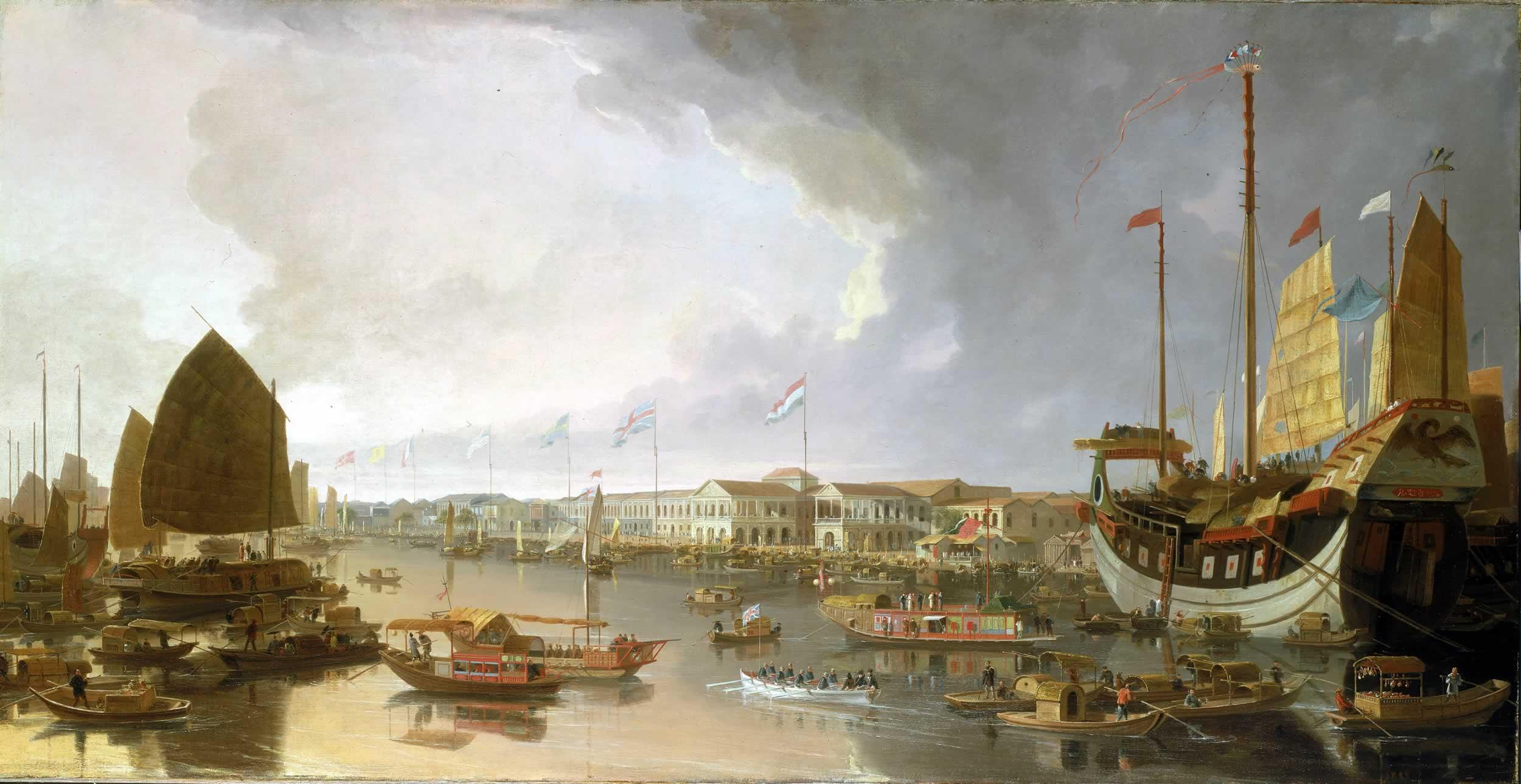 رسم تخيلي لميناء كانتون خلال القرن التاسع عشر