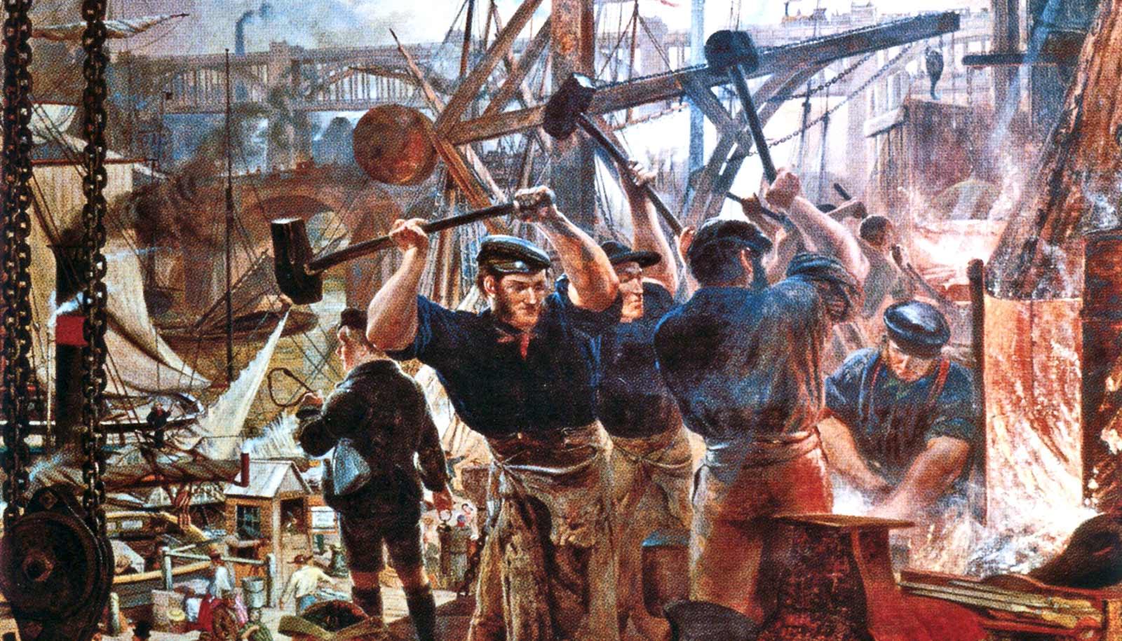 رسم تخيلي يجسد عدداً من العمال خلال فترة الثورة الصناعية