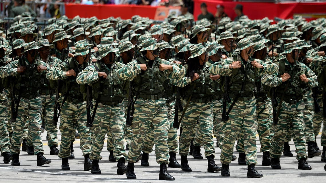Venezuelan soldiers during a military parade, 2018 - AFP