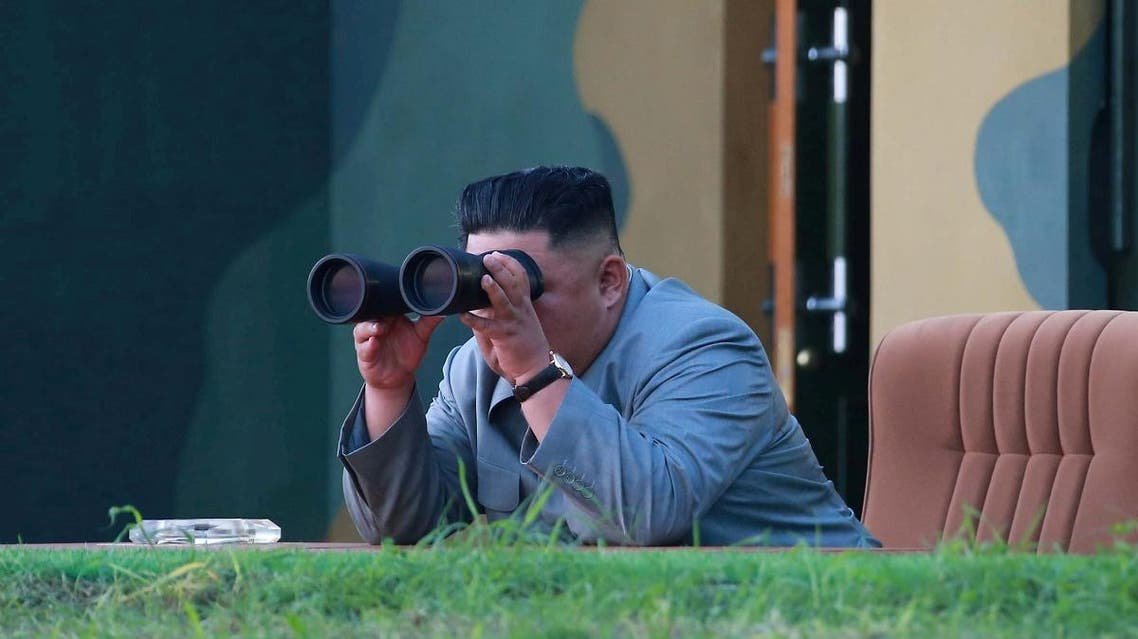 North Korean leader Kim Jong Un watches the test-fire of two short-range ballistic missiles, in this undated picture released by North Korea's  Central News Agency (KCNA) on July 26, 2019. (Reuters)