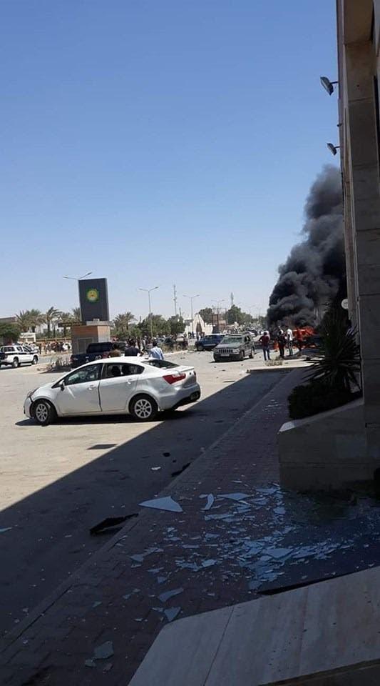 من موقع انفجار السيارة في بنغازي