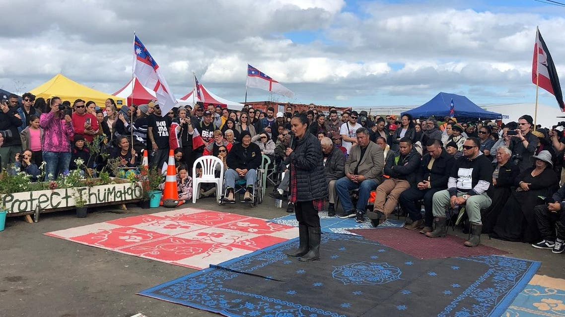 Protest leader Pania Newton speaks during a rally at Ihumatao, Auckland, in this undated handout photo released August 11, 2019. (Reuters)