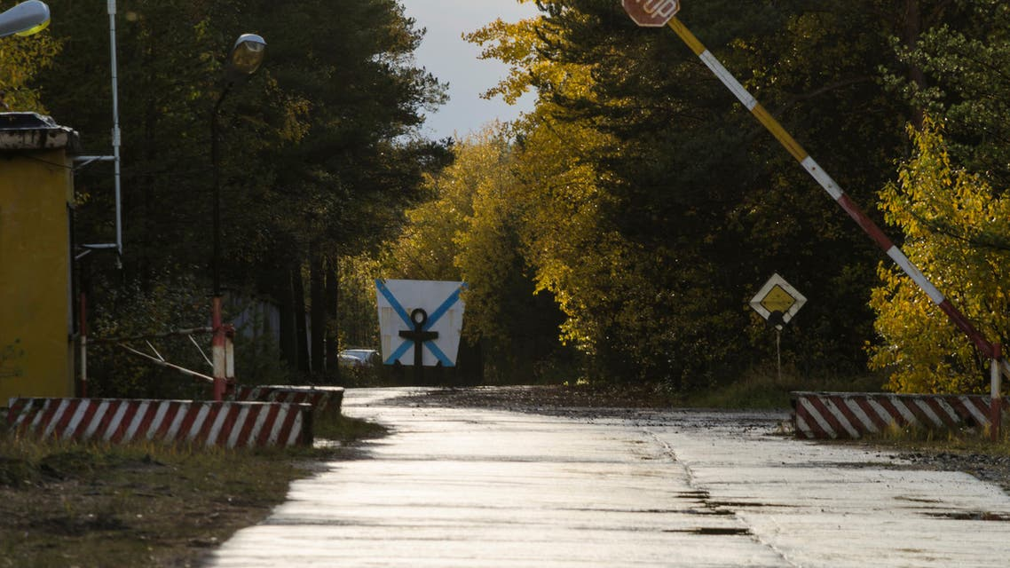 A view shows an entrance checkpoint of a military garrison located near the village of Nyonoksa in Arkhangelsk Region, Russia October 7, 2018. Picture taken October 7, 2018. REUTERS/Sergei Yakovlev