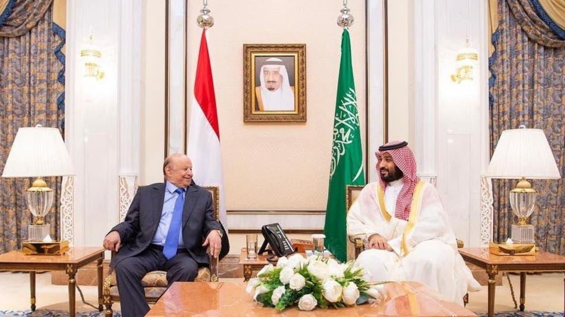 yameni president mansor hadi and Muhammad bin salman