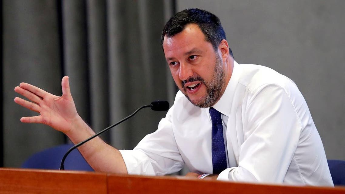 Deputy Prime Minister Matteo Salvini of Italy addresses a news conference at Viminale Palace, Rome, on July 15 2019. (Reuters)