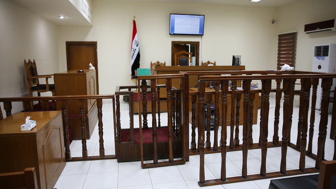 A picture shows a courtroom at Baghdad's Karkh main appeals court building in the western sector of the Iraqi capital on May 29, 2019 where French jihadists accused of belonging to the Islamic state are being tried. The Baghdad court sentenced a Frenchman to death for joining the Islamic State group, bringing to seven the number of French jihadists on death row in Iraq.