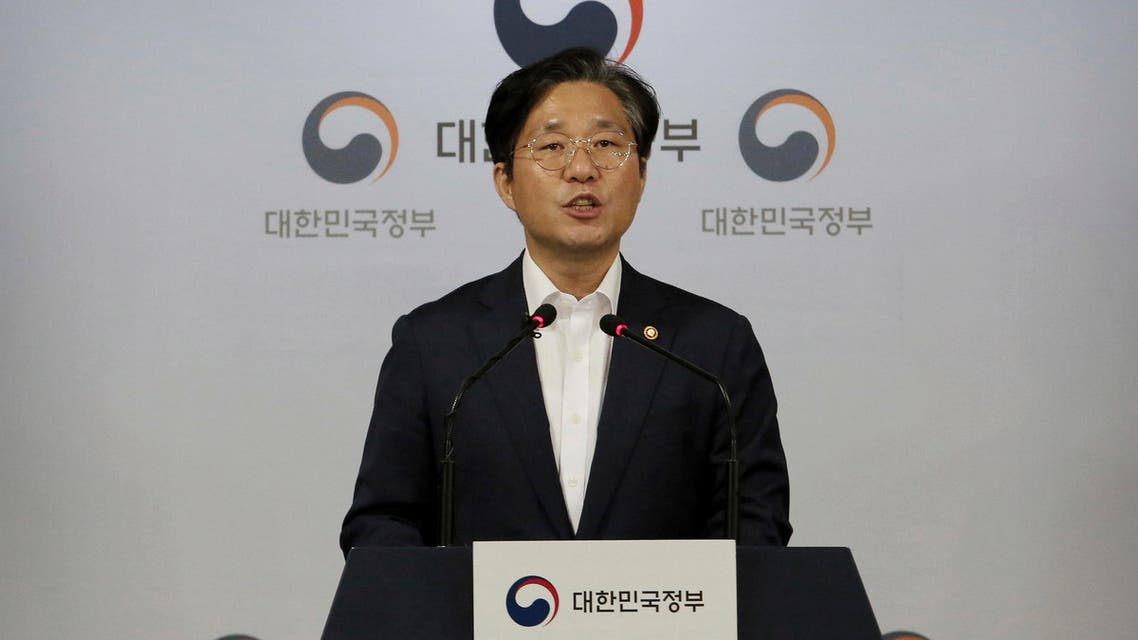 Sung Yun-mo, South Korea's Minister of Trade, Industry and Energy, speaks during a press conference at the government complex in Seoul, South Korea, Tuesday, July 9, 2019. (AP)