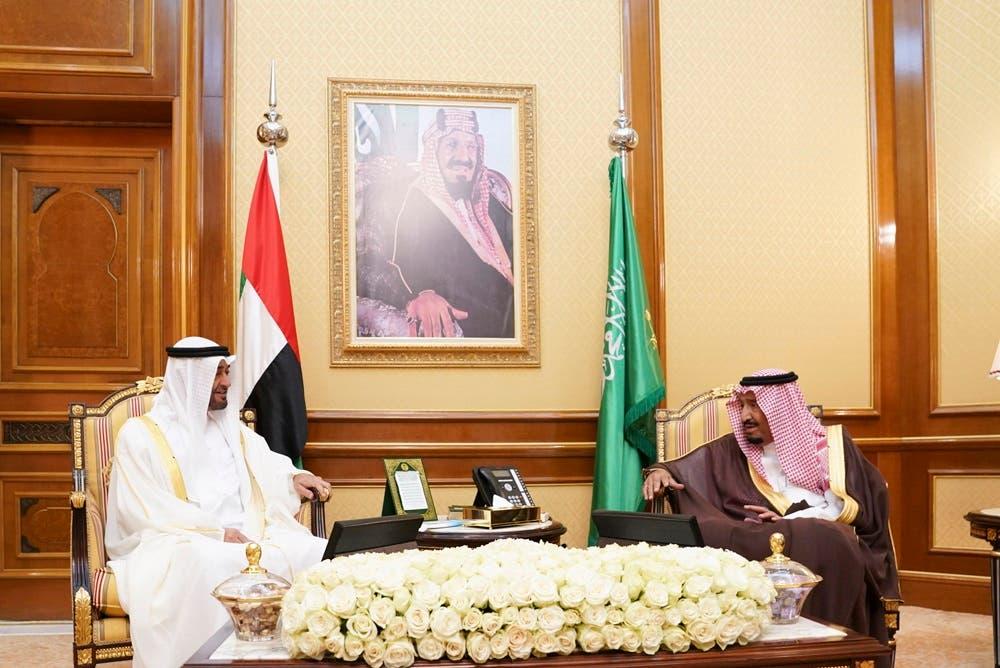 Saudi King Salman bin Abdulaziz and Abu Dhabi Crown Prince Mohammed bin Zayed. (WAM)