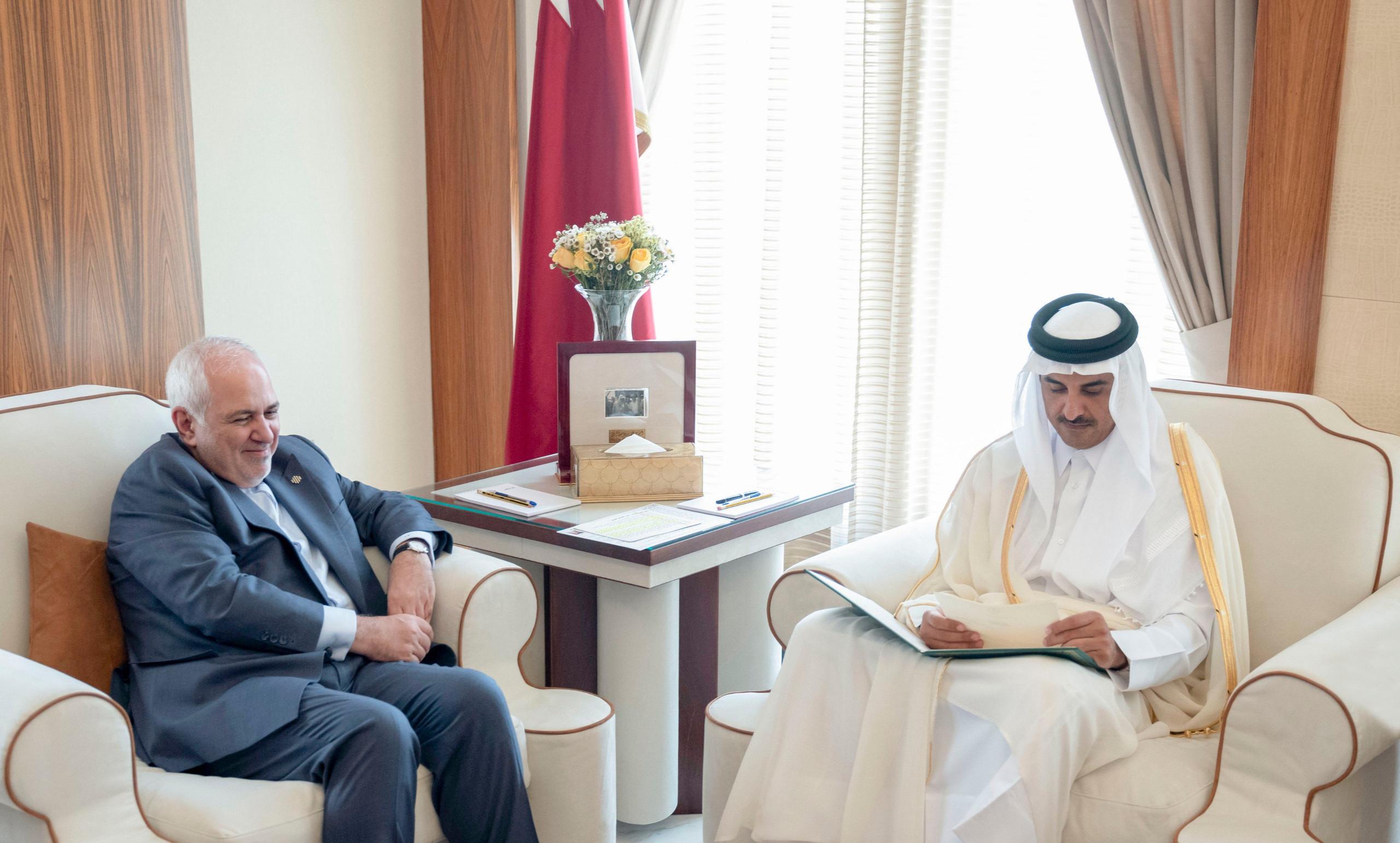 sheikh tamim bin hamad al-thani and javad zarif (Twitter: QNA)
