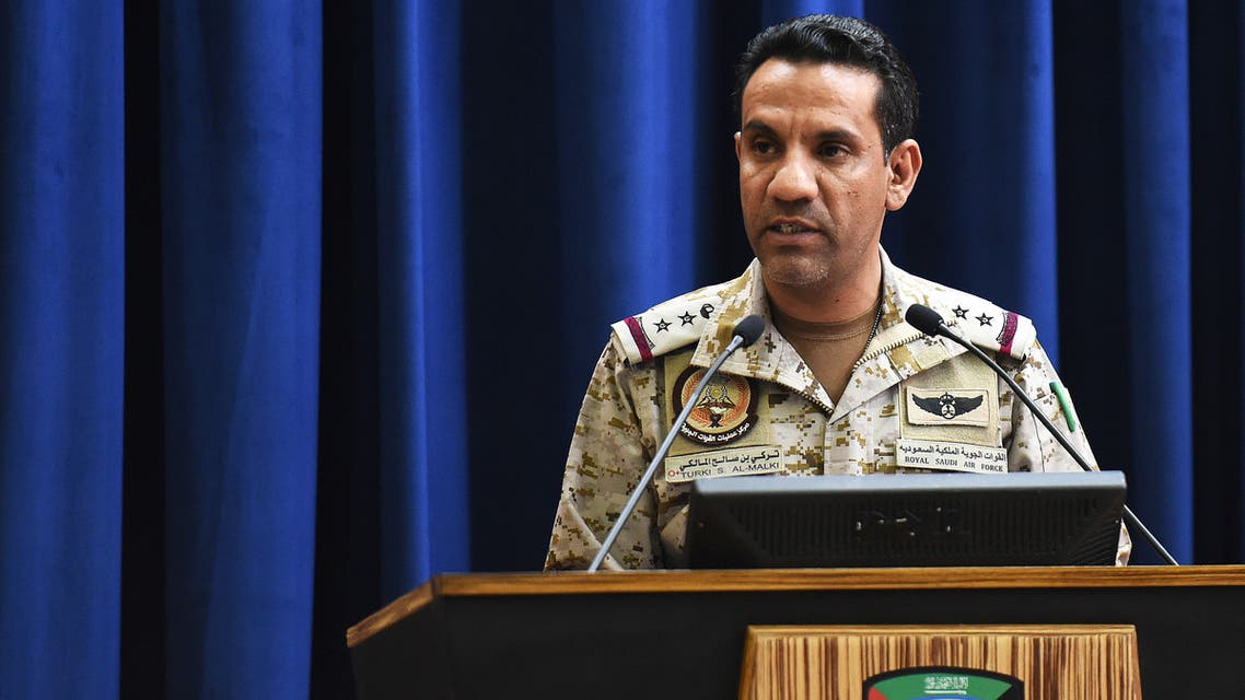 The spokesman of a Saudi-led military coalition Turki Al-Malki gives a press conference at the Armed Forces club in Riyadh on March 26, 2018. A military coalition led by Saudi Arabia threatened retaliation against Iran, accusing the Shiite power of being behind multiple Yemeni rebel missile attacks on the kingdom.